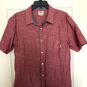 Cans button down cotton shirt. Soft red colour